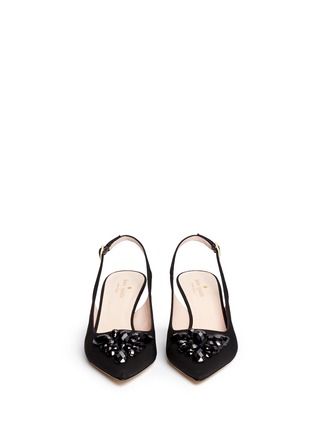 Front View - Click To Enlarge - Kate Spade - 'Marina Too' jewel kitten heel slingback pumps