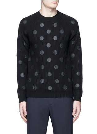 Main View - Click To Enlarge - PS by Paul Smith - Metallic dot print Merino wool sweater