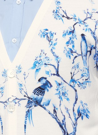 Detail View - Click To Enlarge - Alexander McQueen - Porcelain tree print wool-silk cardigan