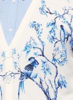 Porcelain tree print wool-silk cardigan