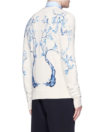 Back View - Click To Enlarge - Alexander McQueen - Porcelain tree print wool-silk cardigan
