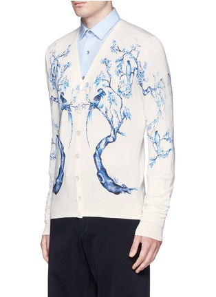 Front View - Click To Enlarge - Alexander McQueen - Porcelain tree print wool-silk cardigan