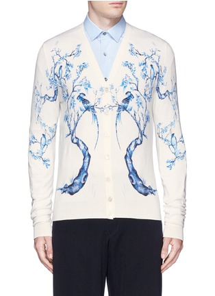 Main View - Click To Enlarge - Alexander McQueen - Porcelain tree print wool-silk cardigan