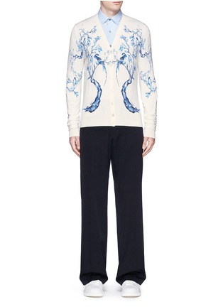 Figure View - Click To Enlarge - Alexander McQueen - Porcelain tree print wool-silk cardigan