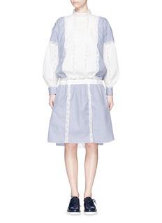 SACAILace high neck candy stripe shirt dress