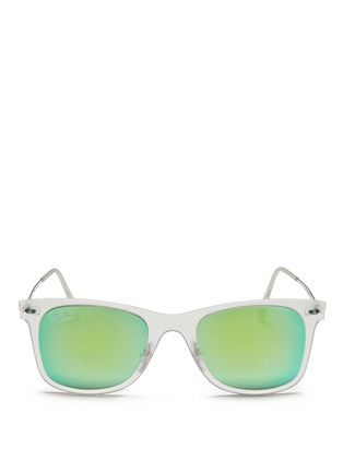 Main View - Click To Enlarge - Ray-Ban - 'Wayfarer Light Ray' matte acetate mirror sunglasses