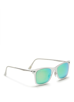 Figure View - Click To Enlarge - Ray-Ban - 'Wayfarer Light Ray' matte acetate mirror sunglasses