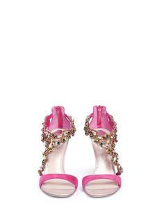 RENÉ CAOVILLAAsymmetric strap crystal suede sandals
