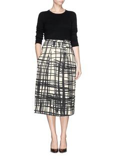 CHICTOPIAStroke print flare skirt