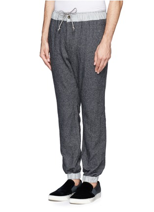 Front View - Click To Enlarge - Sacai - Contrast waistline drawstrong jogging pants
