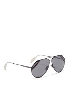 Alexander McQueenCutout corner metal aviator sunglasses