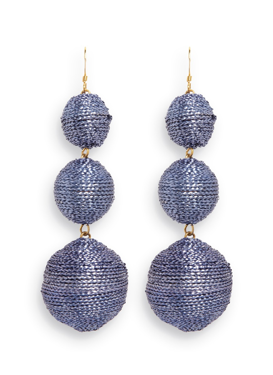 Graduating threaded sphere drop earrings by Kenneth Jay Lane
