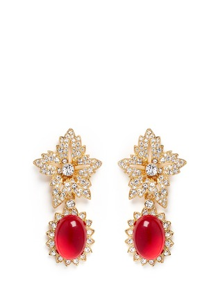 Main View - Click To Enlarge - Kenneth Jay Lane - Cabochon drop crystal pavé floral clip earrings