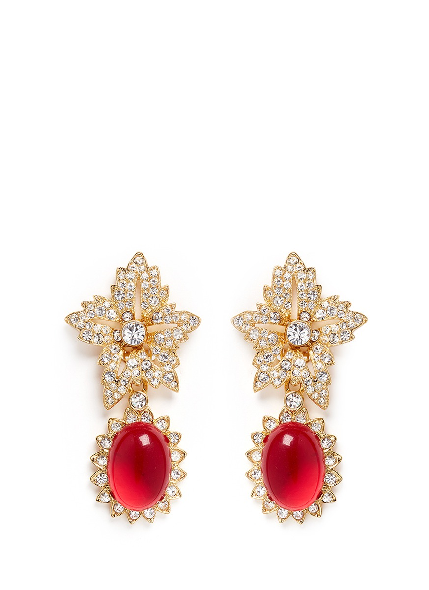 kenneth jay lane female cabochon drop crystal pave floral clip earrings