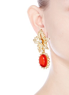 Kenneth Jay LaneCabochon drop crystal pavé floral clip earrings