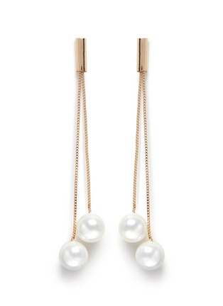Main View - Click To Enlarge - Kenneth Jay Lane - Glass pearl gold plated drop earrings