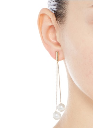 Figure View - Click To Enlarge - Kenneth Jay Lane - Glass pearl gold plated drop earrings
