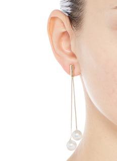 Kenneth Jay LaneGlass pearl gold plated drop earrings