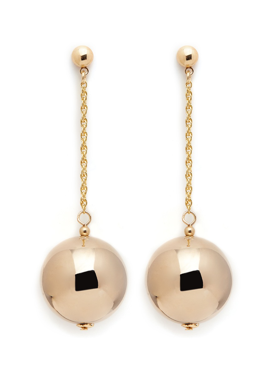 Gold plated sphere drop earrings by Kenneth Jay Lane
