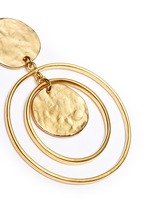 Coin charm hoop gold plated drop earrings