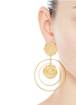 Figure View - Click To Enlarge - Kenneth Jay Lane - Coin charm hoop gold plated drop earrings