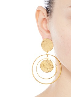 Kenneth Jay LaneCoin charm hoop gold plated drop earrings