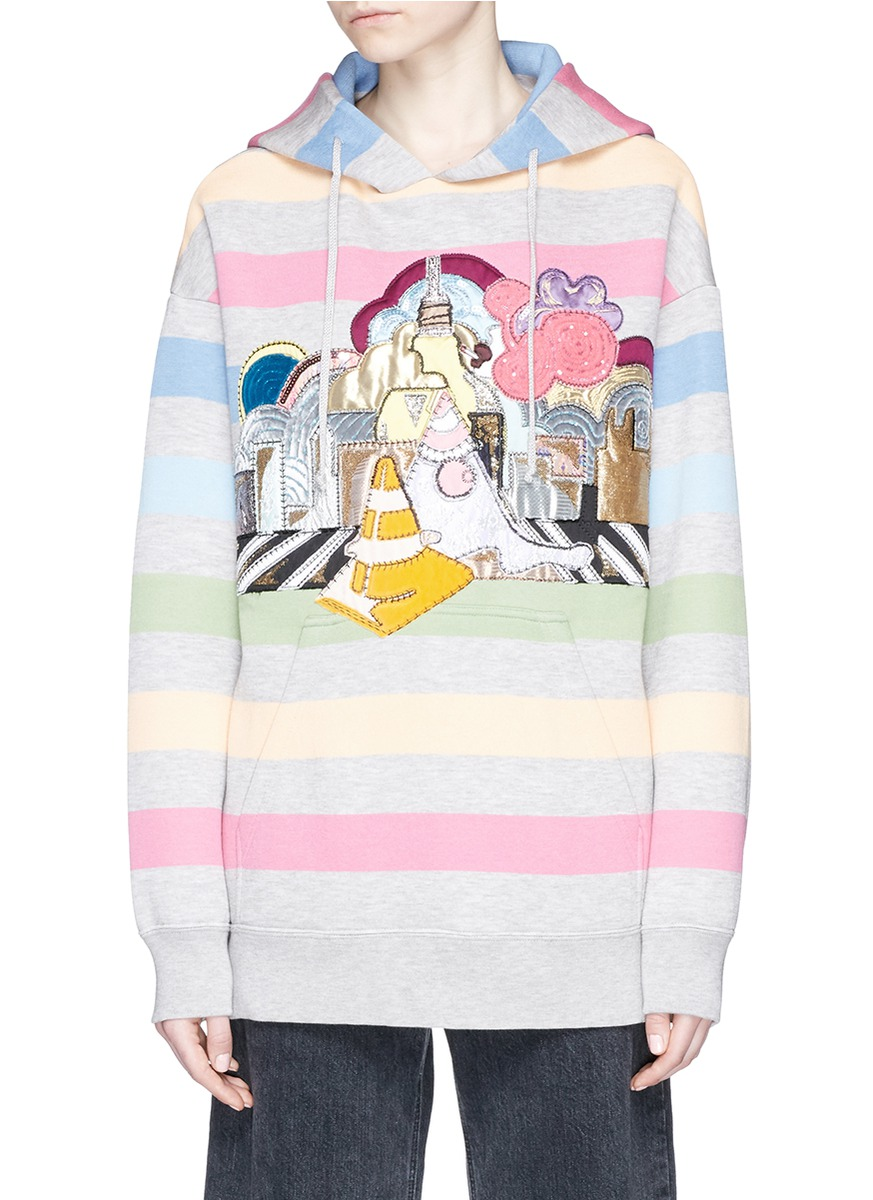 marc jacobs female city applique stripe oversized hoodie