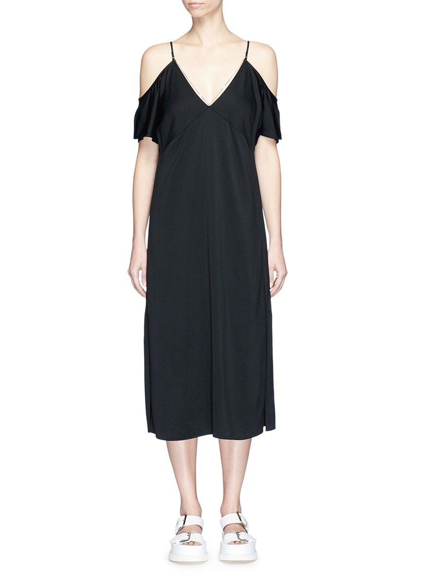 Chain neck cold shoulder dress by T By Alexander Wang
