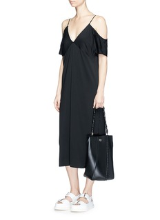 T By Alexander Wang Chain neck cold shoulder dress