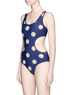 Zoe Karssen 'Smileys All Over' cutout one-piece swimsuit