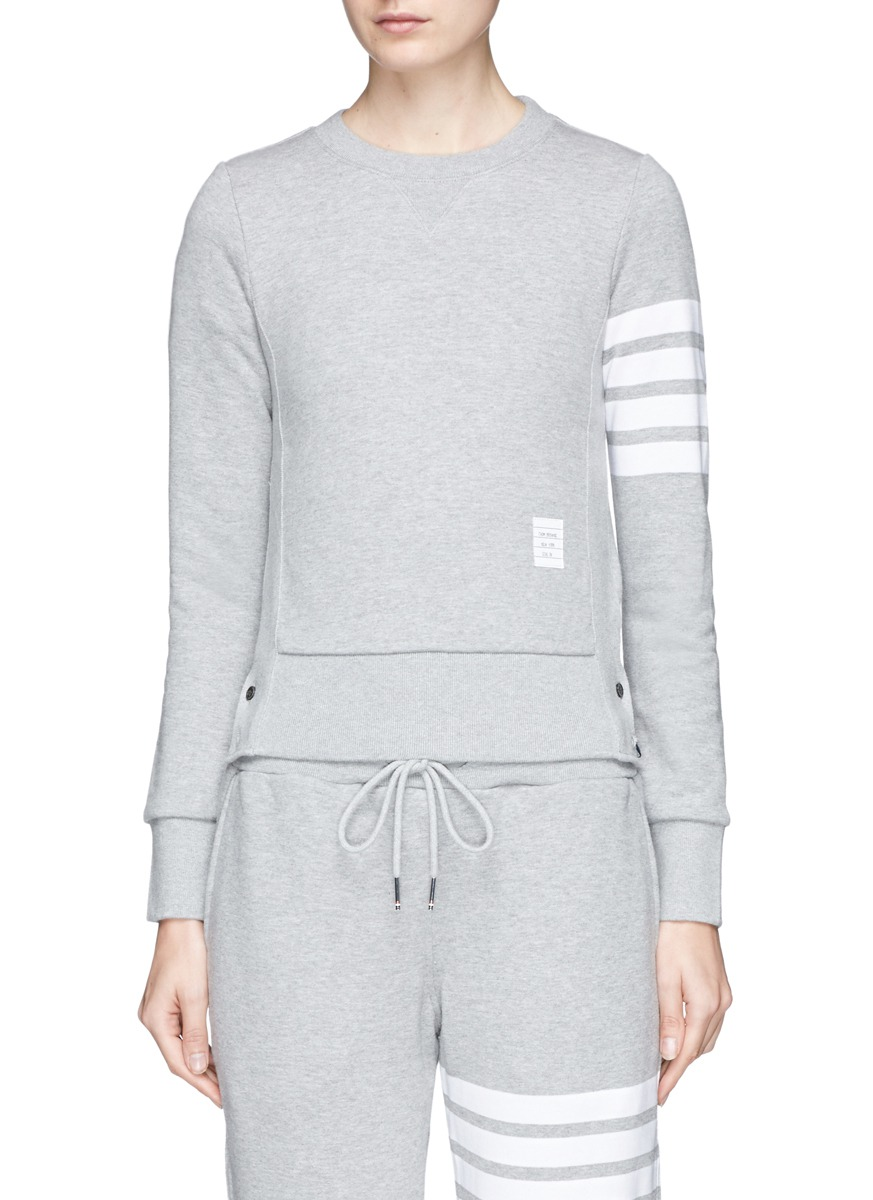 Stripe sleeve cotton sweatshirt by Thom Browne