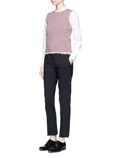 Thom Browne Frayed tweed jacquard knit sleeveless top