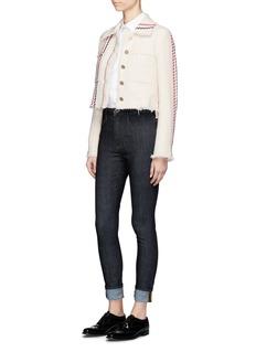 Thom BrowneStripe stitch cropped tweed jacket