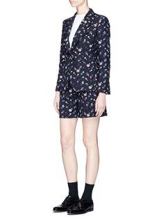 Thom BrownePoppy floral embroidered wool blazer