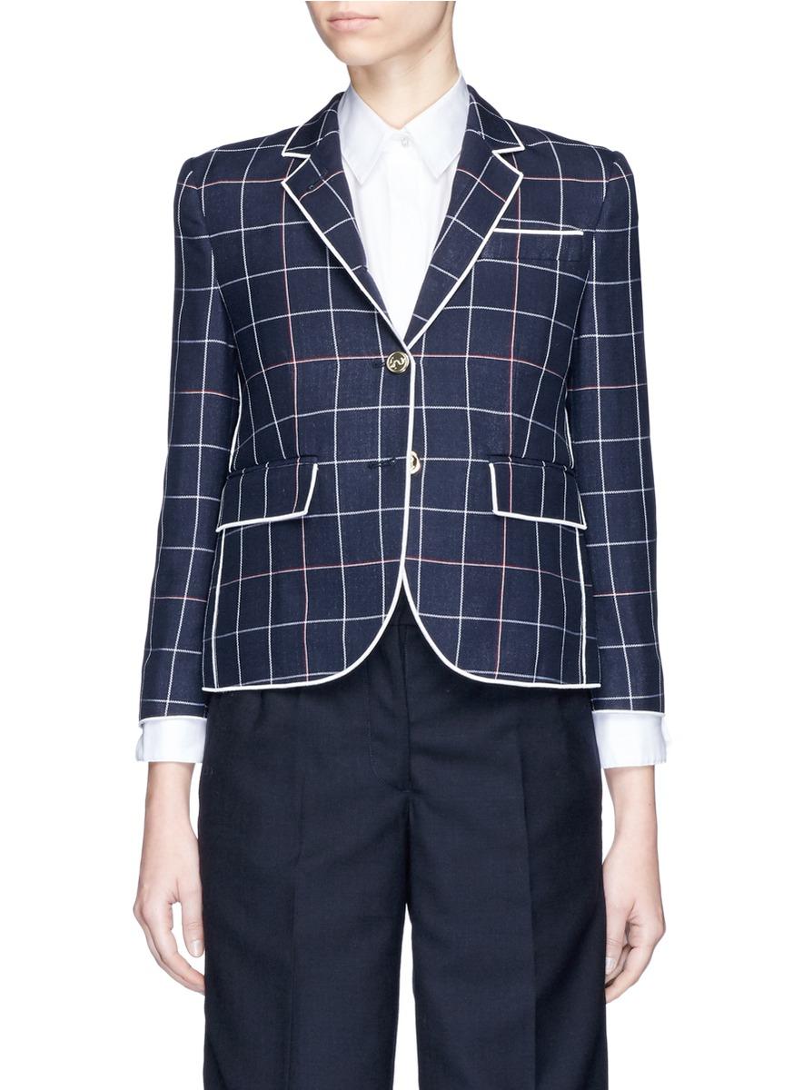 Windowpane check wool blend blazer by Thom Browne
