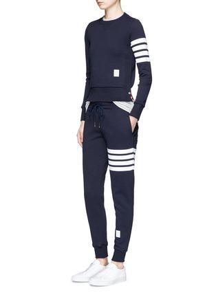 Figure View - Click To Enlarge - Thom Browne - Stripe leg cotton sweatpants