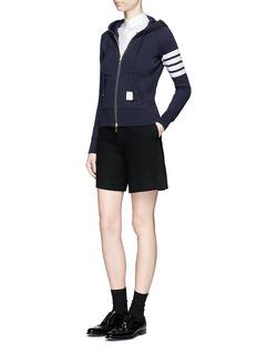 Thom BrowneStripe sleeve cotton zip hoodie