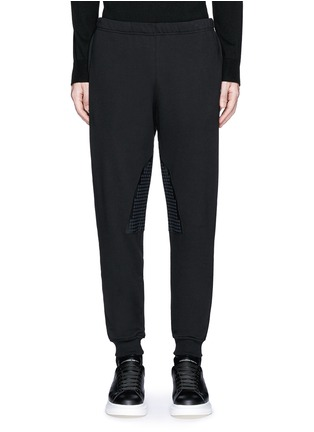 Main View - Click To Enlarge - Alexander McQueen - Perforated leather patch jogging pants