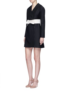 VALENTINOKimono wrap wool-silk A-line dress