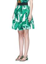 Banana leaf print poplin circle skirt