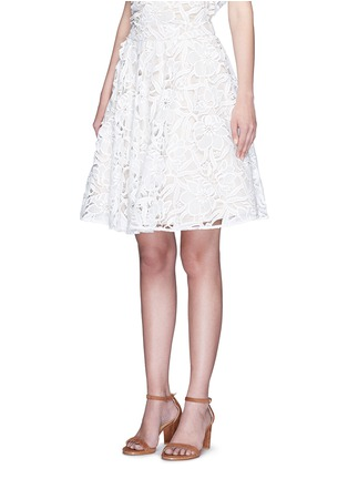 Front View - Click To Enlarge - alice + olivia - 'Earla' floral guipure lace flare skirt