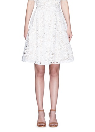 Main View - Click To Enlarge - alice + olivia - 'Earla' floral guipure lace flare skirt
