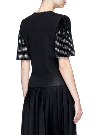 Back View - Click To Enlarge - Alexander McQueen - Geometric jacquard pleated sleeve knit top