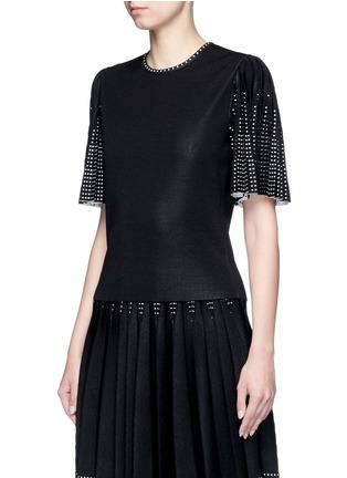 Front View - Click To Enlarge - Alexander McQueen - Geometric jacquard pleated sleeve knit top