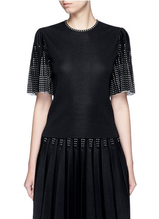 Main View - Click To Enlarge - Alexander McQueen - Geometric jacquard pleated sleeve knit top