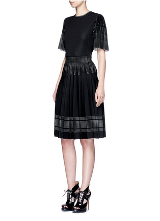 Figure View - Click To Enlarge - Alexander McQueen - Geometric jacquard pleated sleeve knit top
