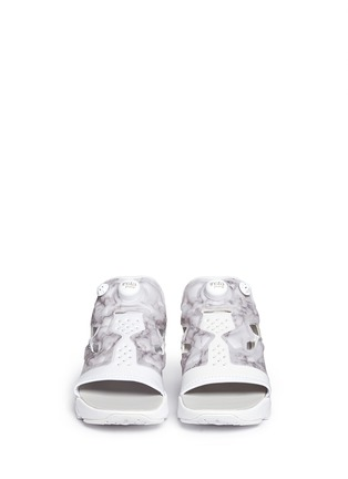 Front View - Click To Enlarge - Reebok - 'Instapump Fury' marble print sandals