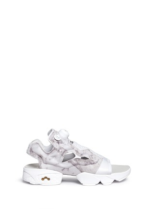 Main View - Click To Enlarge - Reebok - 'Instapump Fury' marble print sandals