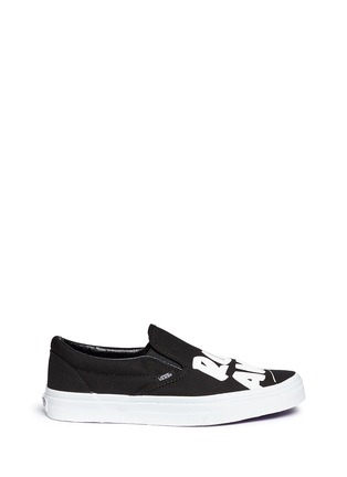Main View - Click To Enlarge - Vans - x Baron Von Fancy 'Classic' slogan print canvas slip-ons