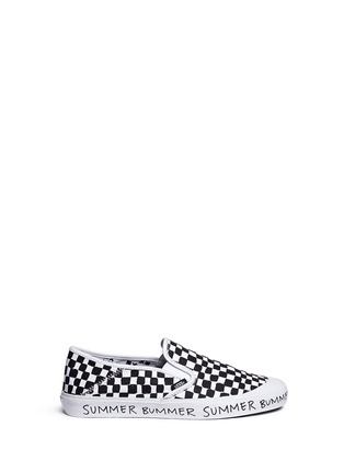 Main View - Click To Enlarge - Vans - x Summer Bummer checkerboard print skate slip-ons